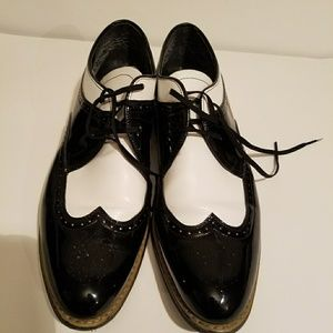 Stacy Adams Black/White Leather Two Tone Shoes